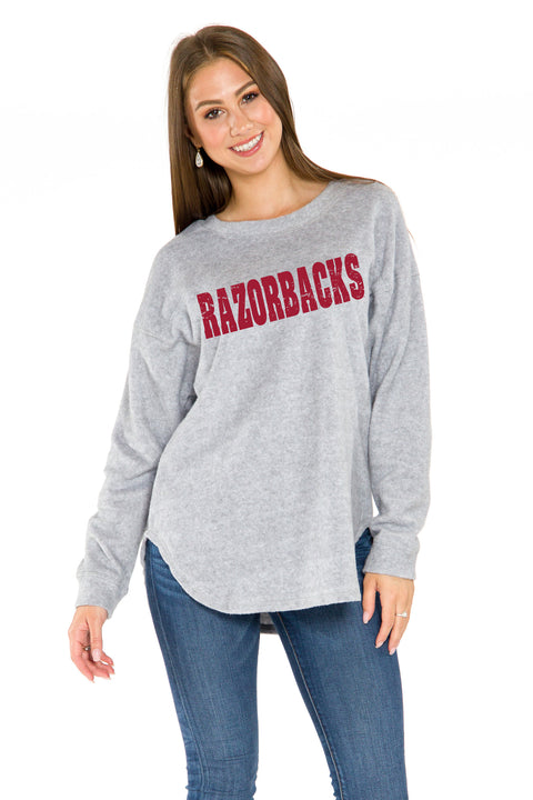 Arkansas Razorback Womens Sherpa Sweatshirt - Heather