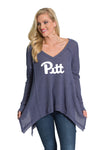 Pitt Panthers Womens Flowy Waffle Knit Top - Blue