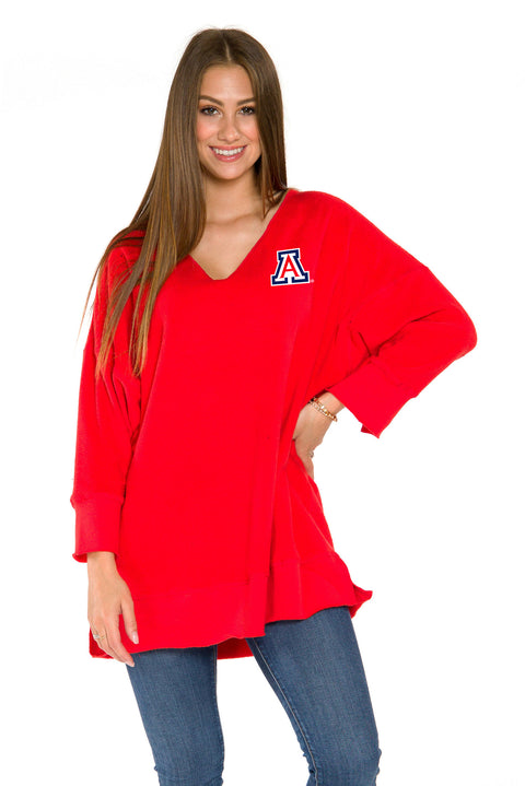 Arizona Wilcats Womens V-Neck Tunic-Red