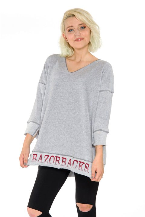 Arkansas Razorbacks V-neck Sherpa Tunic - Heather