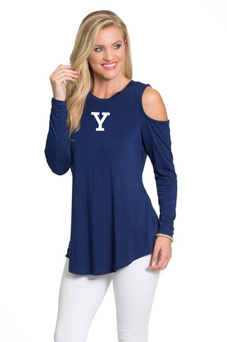 Yale Bulldogs Womens Long Sleeve Cold Shoulder Top - Navy