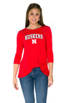 Nebraska Huskers Lylah Twist Front Top