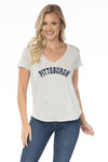 Pitt Panthers Womens Striped V-Neck Tee