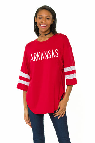 Arkansas Razorbacks Womens Oversized Jersey - Crimson