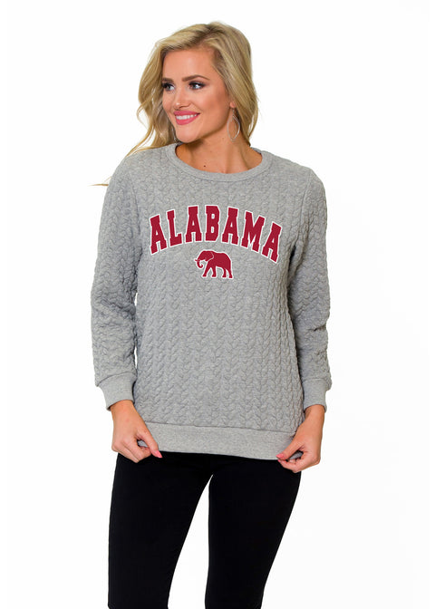 Alabama Crimson Tide Womens Braided Crew Neck Sweatshirt