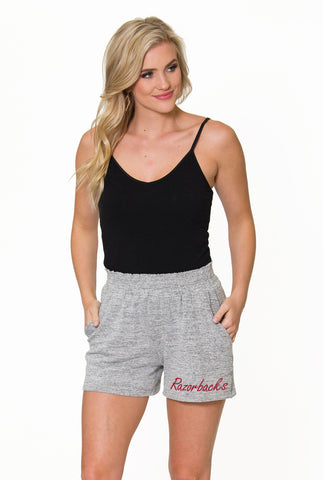 Arkansas Razorbacks High Waisted Shorts - Heather