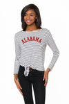 Alabama Crimson Tide Womens Long Sleeve Striped Tie Front