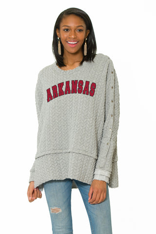 Arkansas Razorbacks Womens Braided Snap Sleeve Pullover