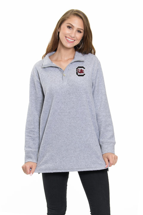 South Carolina Gamecocks 3 Button Pullover - Heather