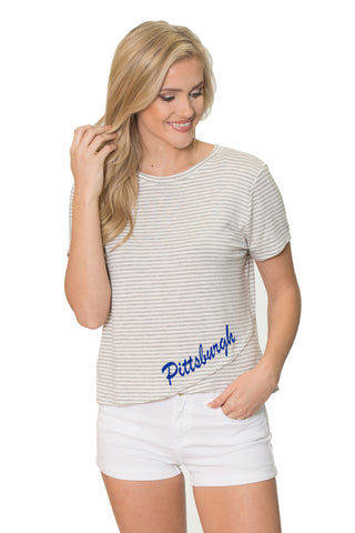 Pitt Panthers Womens Striped Tee