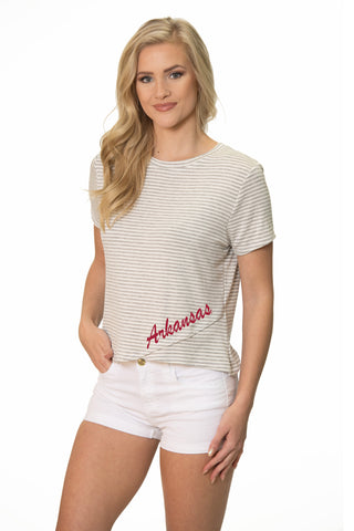 Arkansas Razorbacks Striped Tee