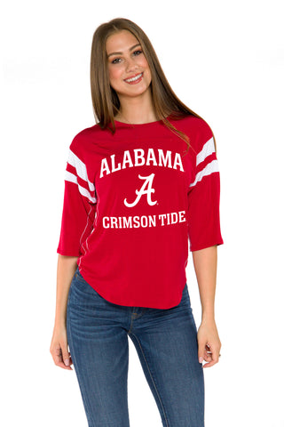 Alabama Crimson Tide Womens 3/4 Sleeve Jersey- Crimson