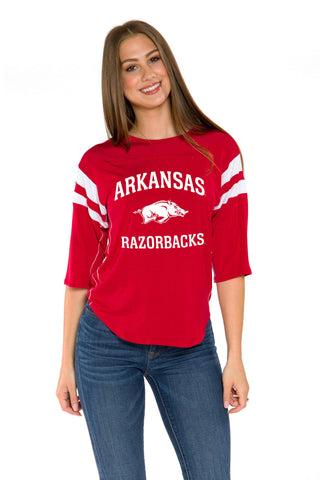 Arkansas Razorbacks Womens 3/4 Sleeve Jersey- Crimson