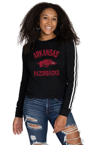 Arkansas Razorbacks Womens Long Sleeve Top - Black