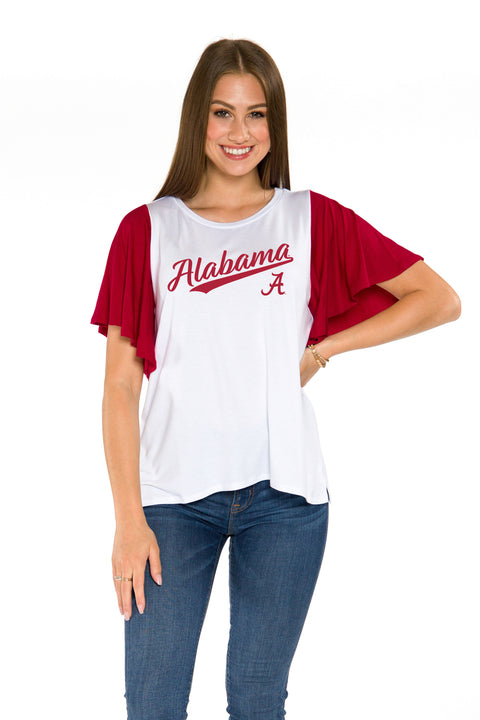 Alabama Crimson Tide Womens Flutter Sleeve Baseball Tee