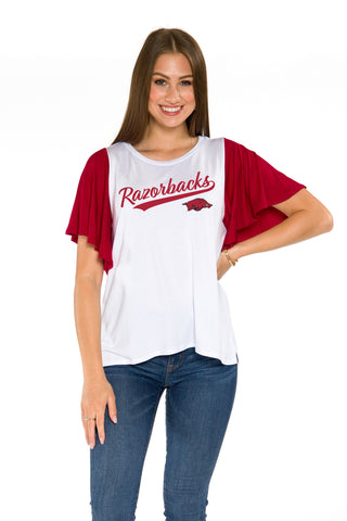 Arkansas Razorbacks Womens Flutter Sleeve Baseball Tee - Crimson