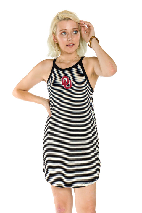 Oklahoma Sooners Womens Striped Dress - Black
