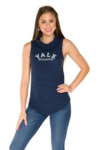 Yale Bulldogs Womens Cowl Neck Tank - Navy