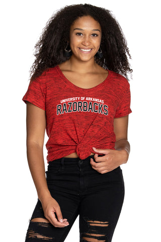 Arkansas Razorbacks Scoop Neck Tee - Crimson
