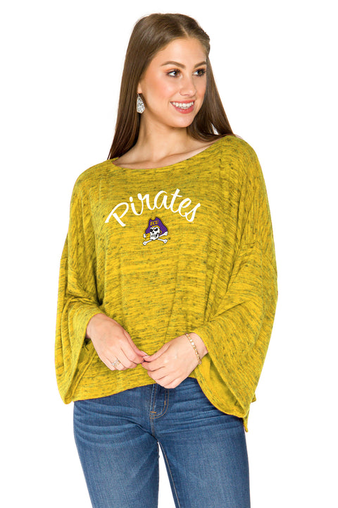 ECU Pirates Womens Kimono Sleeve Top  - Gold