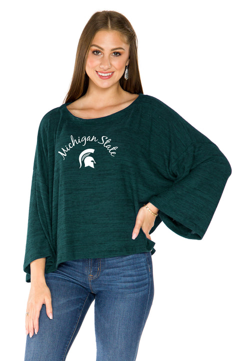 Michigan State Spartans Womens Kimono Sleeve Top - Hunter Green