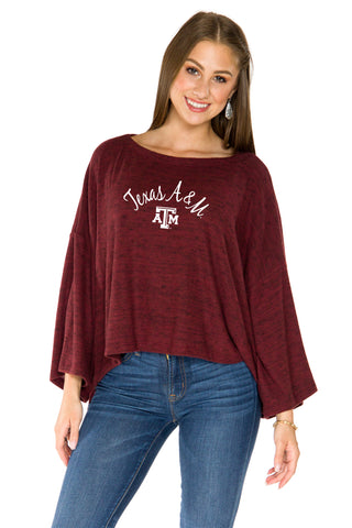 Texas A&M Aggies Womens Kimono Sleeve Top - Maroon