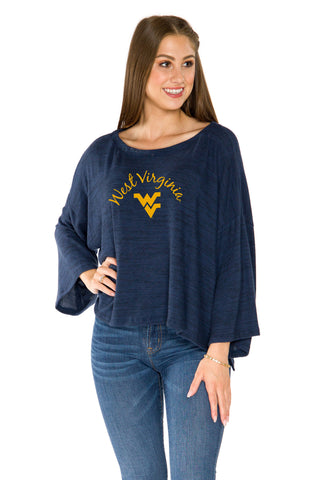 West Virginia Mountaineers Womens Kimono Sleeve Top - Navy
