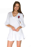 Arkansas Razorbacks Womens Ruffle Dress - White