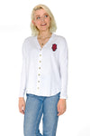 Arkansas Razorbacks Ribbed Button Front Top - White