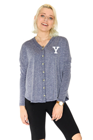 Yale Bulldogs Rib Knit Button Down Top - Navy