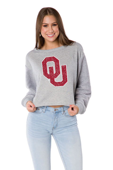 Oklahoma Sooners Long Sleeve Crop Top - Heather