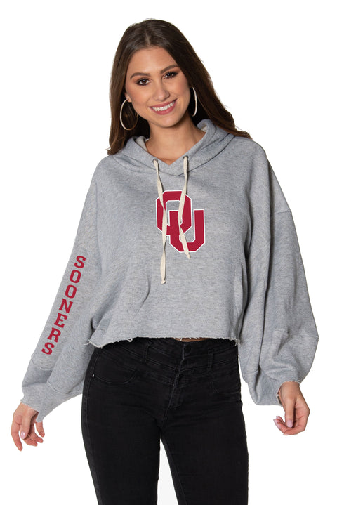 Oklahoma Sooners Womens Cropped Hoodie - Heather