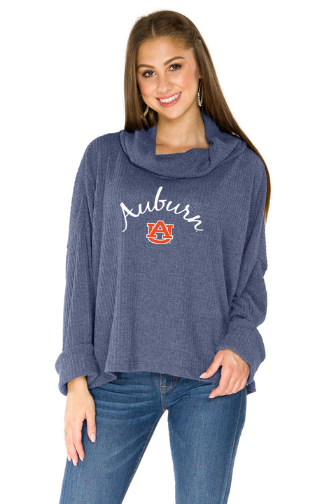 Auburn Tigers Thermal Knit Cowl Neck Top - Navy