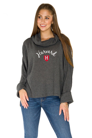Harvard Crimson Thermal Knit Cowl Neck Top - Charcoal