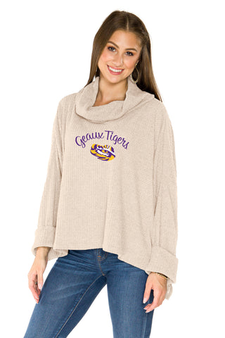 LSU Tigers Thermal Knit Cowl Neck Top - Oatmeal