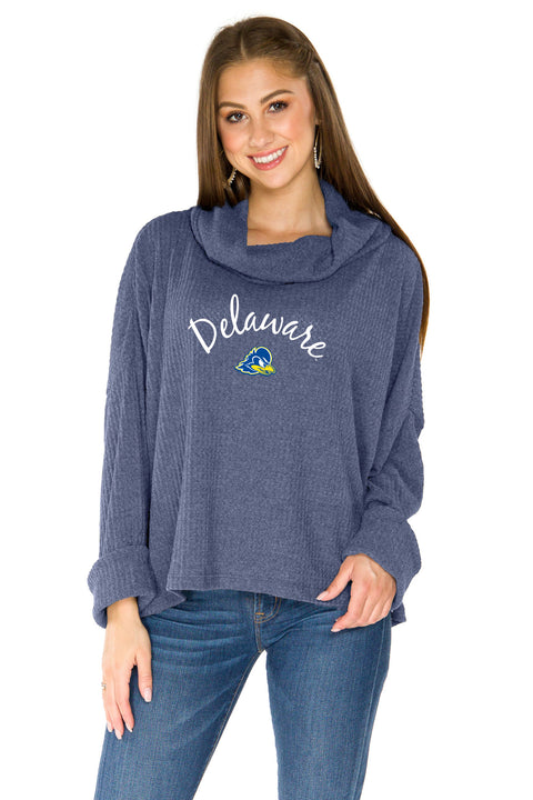 Delaware Blue Hens Thermal Knit Cowl Neck Top - Navy