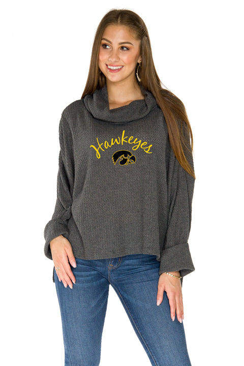 Iowa Hawkeyes Thermal Knit Cowl Neck Top - Charcoal