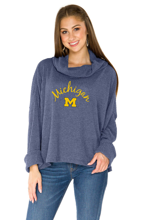University of Michigan Thermal Knit Cowl Neck Top - Navy