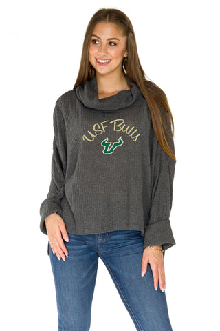 USF Bulls Thermal Knit Cowl Neck Top - Charcoal