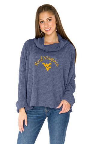 West Virginia Mountaineers Thermal Knit Cowl Neck Top - Navy