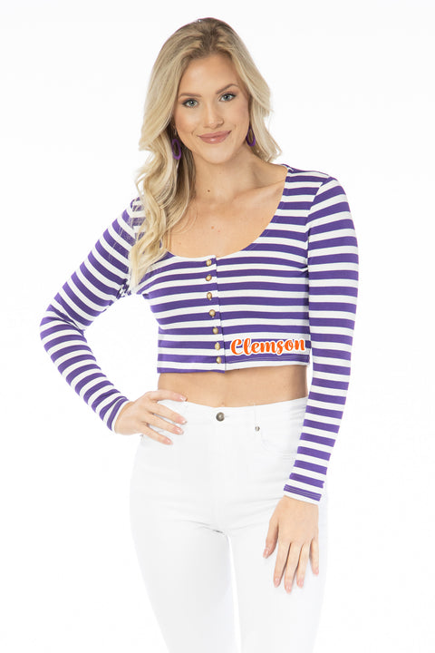 Clemson Tigers Jayme Striped Crop