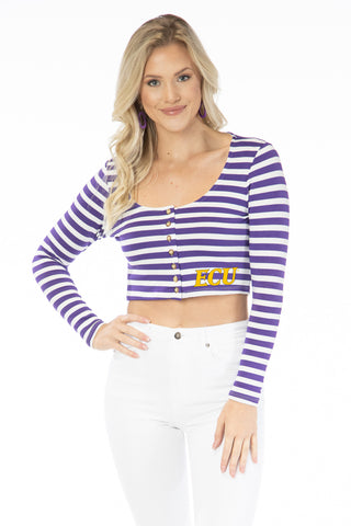 ECU Pirates Jayme Striped Crop