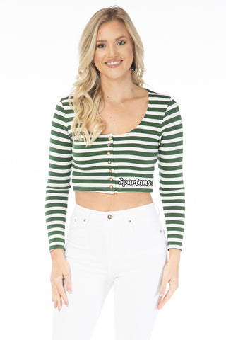 Michigan State Spartans Jayme Striped Crop