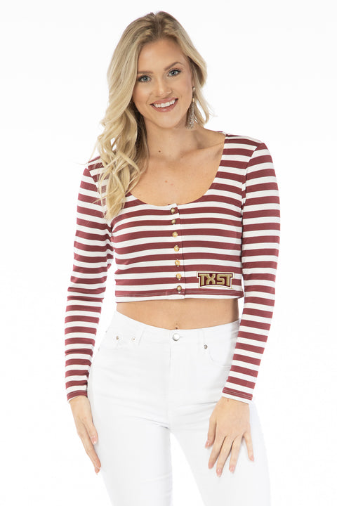 Texas State Bobcats Jayme Striped Crop