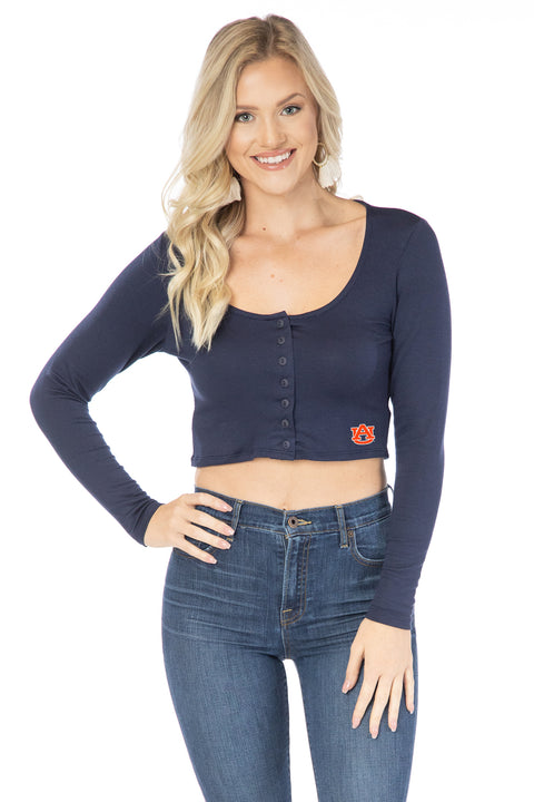 Auburn Tigers Long Sleeve Button Crop
