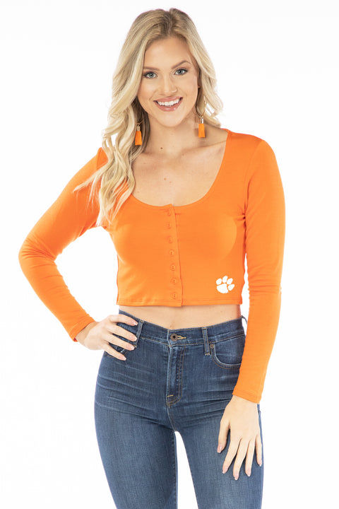 Clemson Tigers Long Sleeve Button Crop