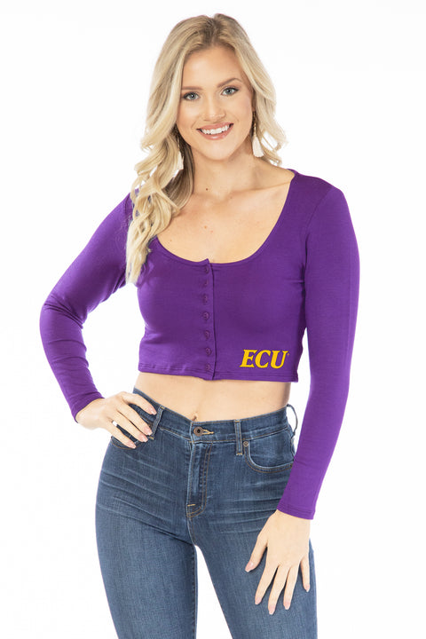 ECU Pirates Long Sleeve Button Crop