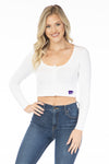 Kansas State Wildcats Long Sleeve Button Crop