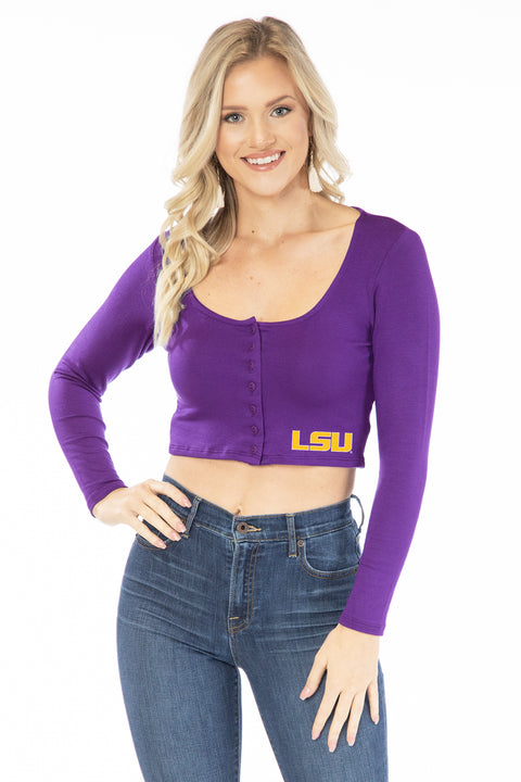 LSU Tigers Long Sleeve Button Crop