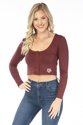 Texas A&M Aggies Long Sleeve Button Crop